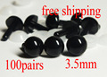 100 pairs (200pc) Black eyes 3.5mm black amigurumi Doll eyes / Needle felting eyes for Teddy bear