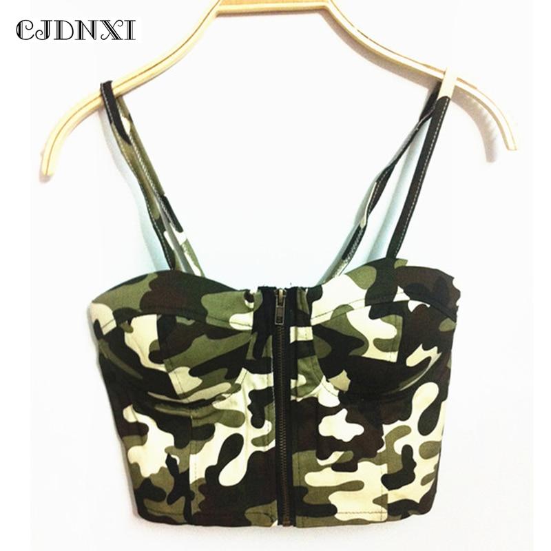 2018 Crop Tops Women Sexy Backless Halter Tank Top Nightclub Street Retro Short Camisole Wrap Chest Harness Green Print Corset
