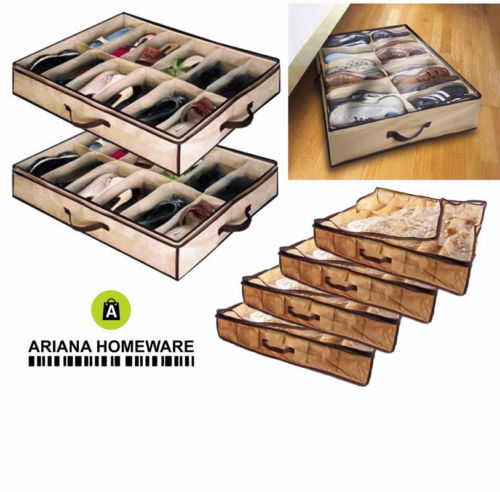 12 Pair Under Bed Shoes Organizer Storage Holder Shoes Storage Box Tidy Bag Rack Pockets Socks Storage Box Clothing Organizer(China)