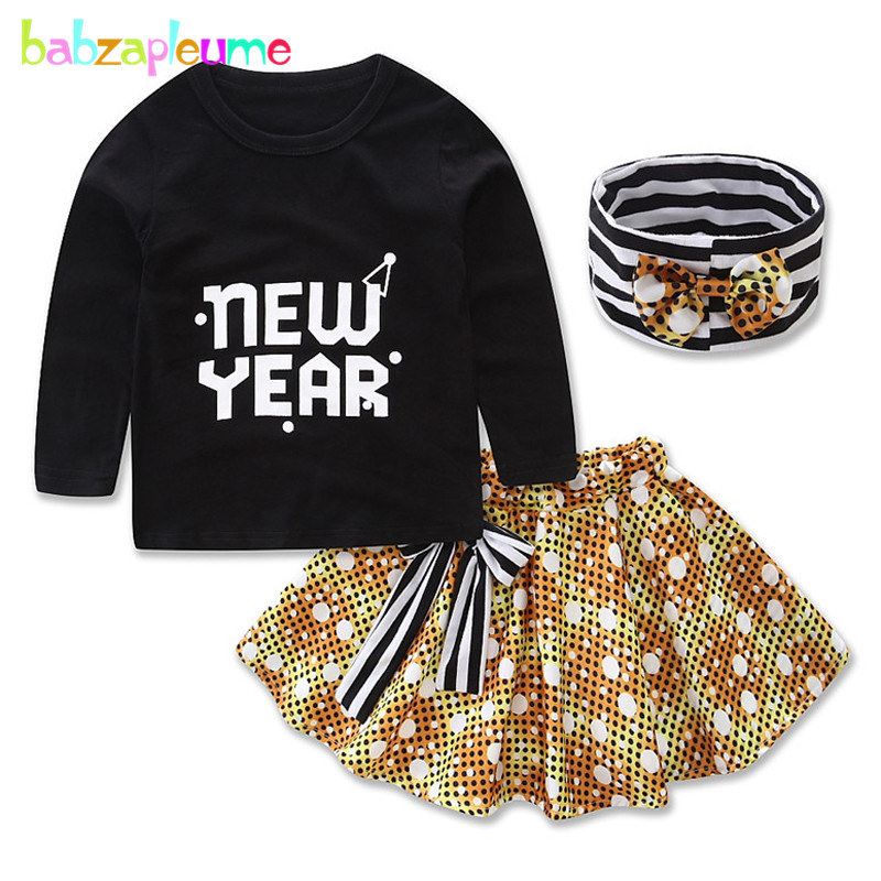 babzapleume Spring Summer Newborn Baby Girls Clothes Cute 1st Birthday T-shirt+Skirt+Headband Infant Clothing Sets 3Piece BC1058
