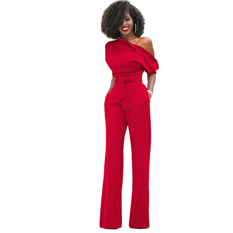 Detail Feedback Questions about Jumpsuits for Women 2018 Elegant Red One  Shoulder African Fashion Straight Long Pants Casual Party High Quality  Pockets ... 330abcd14e00