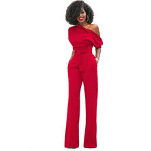 Jumpsuits for Women 2018 Elegant Red One Shoulder African Fashion Straight Long Pants Casual Party High Quality Pockets Jumpsuit