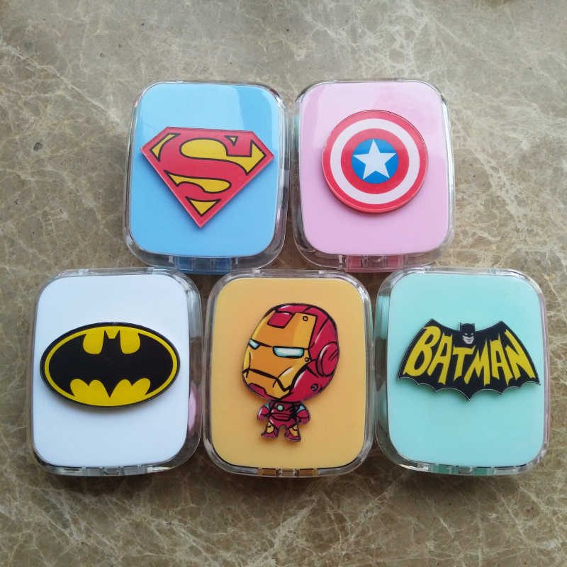 LIUSVENTINA DIY acrylic cute portable Batman Superman Iron Man contact lens case container with mirror box for color lens