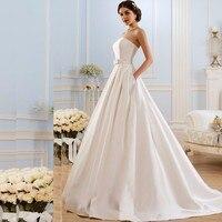 A Line Wedding Dresses 2017 Vintage Pockets Bow China Vestidos De Novia Backless Plus Size