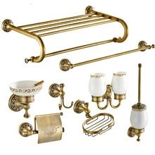 ФОТО vintage copper bronze bathroom accessories european brushed solid brass bathroom hardware sets wall mount bathroom products sr58