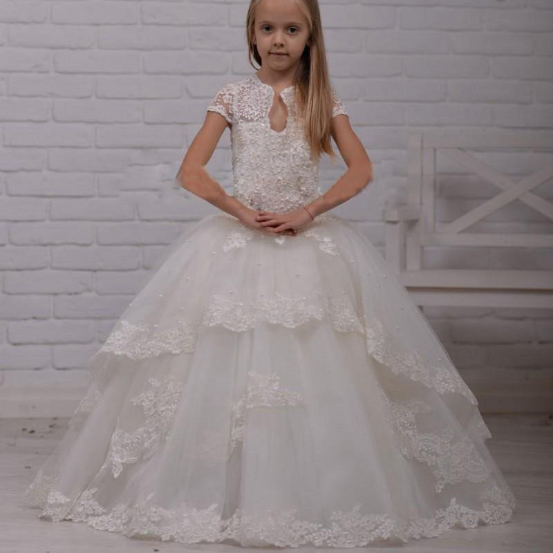 Lace Beaded Ball Gown Flower Girls Dresses For Wedding With Girls Pageant Dress For Little Girls 2016 First Communion Gown lovely pink ball gown short flower girl dresses 2018 beaded pearls first communion dresses for girls pageant dress