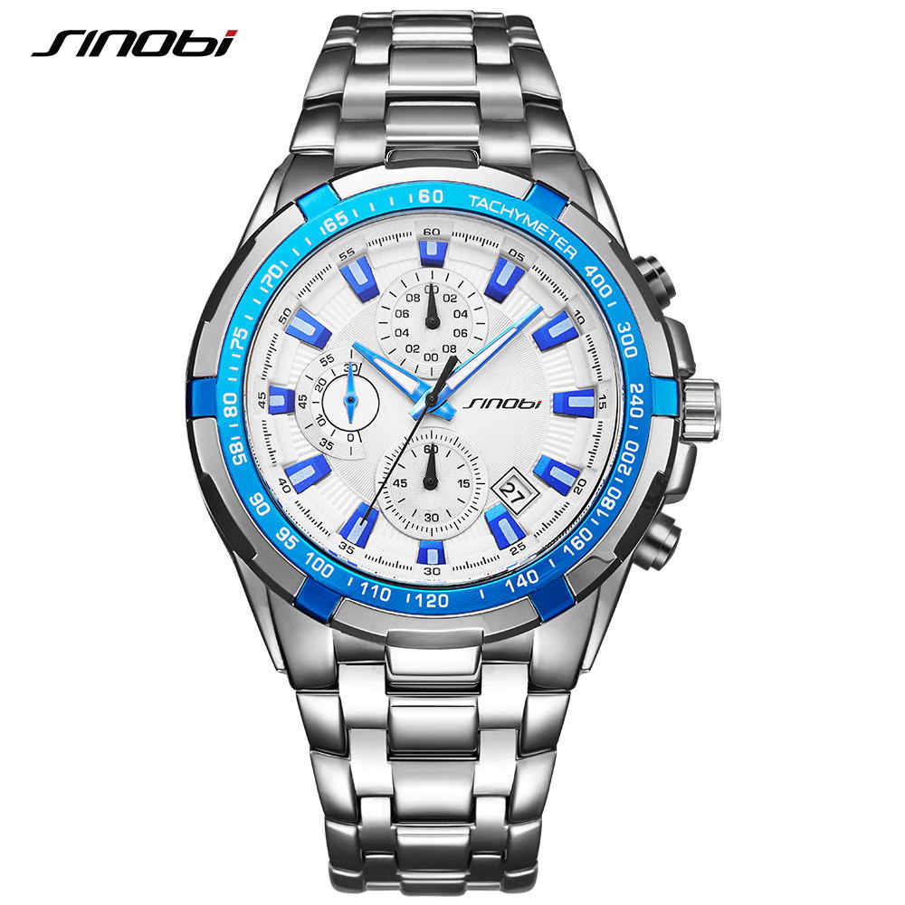 SINOBI הכרונוגרף מכירות שעונים Creative יוקרה עמיד למים עסקי קוורץ שעון יד למעלה בנד ספורט שעון Relogio Masculino