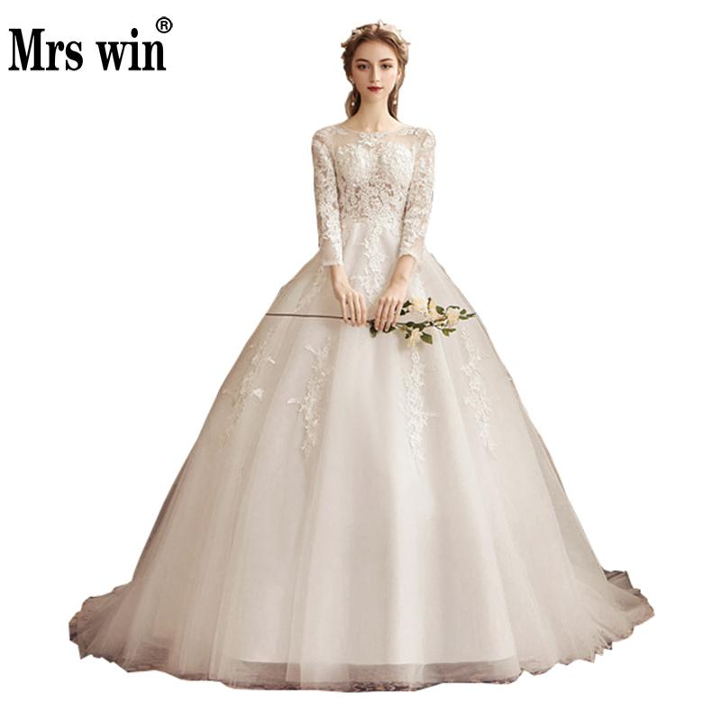 Full Sleeve Wedding Gown: Robe De Mariee Grande Taille 2019 New Mrs Win Lace Wedding