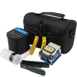 6 in 1 FTTH Tool Kit with Fiber Optic Stripper and FC-6S Optical Fiber Cleaver Cutter and Cleaning Wipes