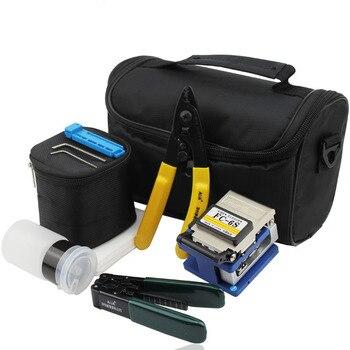 Kit de herramientas 7 unids/set FTTH con cortador de cuchilla de fibra óptica FC-6S y Strippers de Cable CFS-2 y toallitas de limpieza sin polvo