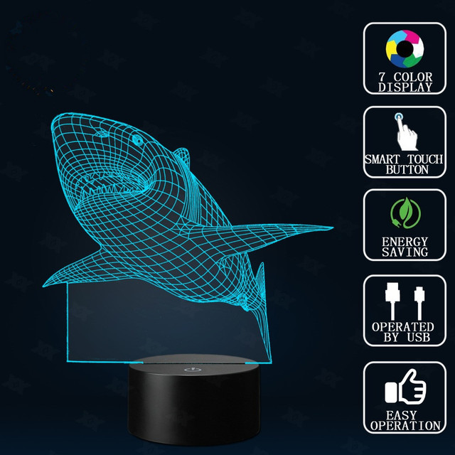 Shark Led Table Lamp Touch Control Night 7 Colors Change Usb Desk Light