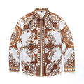 high quality men fashion Long-sleeved shirt Palace of flowers print lattice burderry camisa masculina Casual men dress shirts
