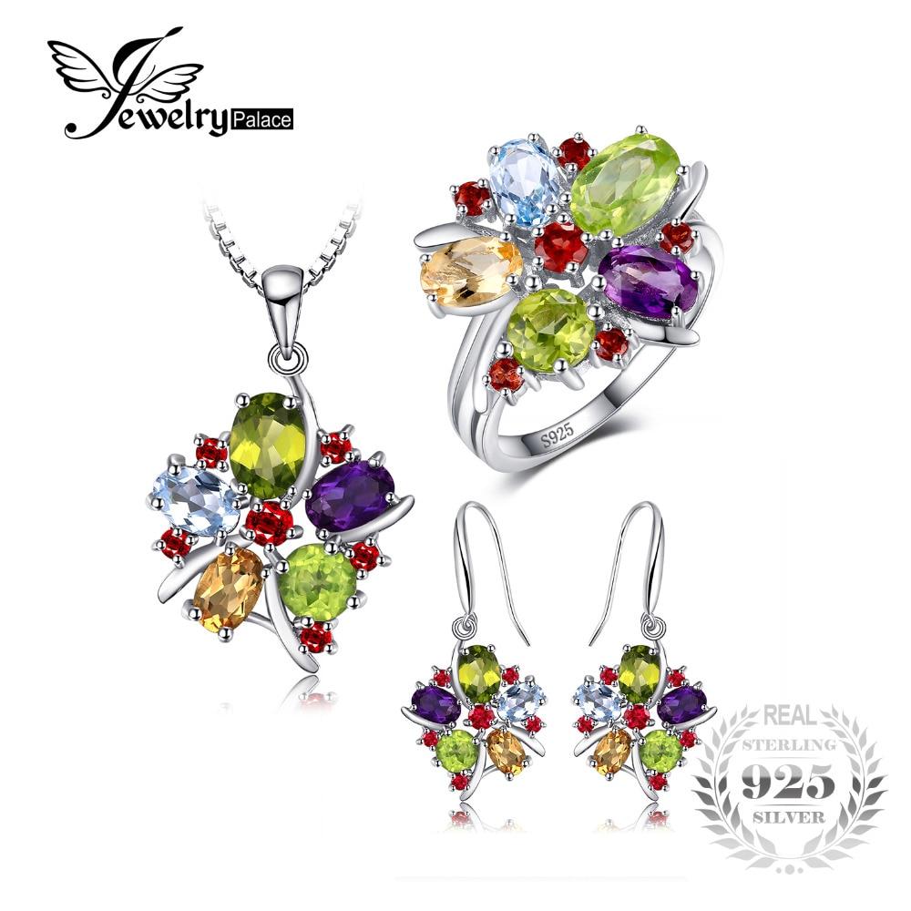Natural Gemstone Pendant Garnet Peridot Necklace 925 Sterling Silver Heart Fine Stone Jewelry Trendy for Women Best Gift