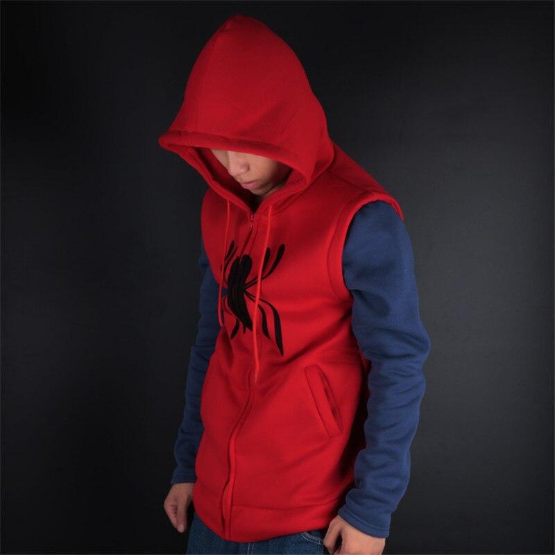 Unisex 2017 Spiderman Homecoming Cosplay Coat Hoodie Spiderman Peter Parker Hoodie Zipper Men's Sweater Halloween Costume
