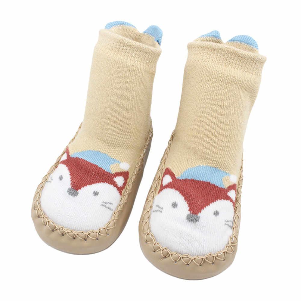 Calcetines de algodón para el suelo con dibujos de animales para bebés y niñas recién nacidos Otoño Invierno 2018 Calcetines antideslizantes calcetines de bebé para andar Año Nuevo 2018