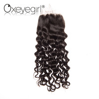Oxeye Girl Peruvian Water Wave Lace Closure With Baby Hair Remy Hair Natural Color 8 22
