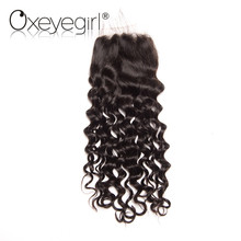 "Oxeye girl Peruvian Water Wave Lace Closure With Baby Hair Remy Hair Natural Color 8″-22″ 100% Human Hair Closure 4""x 4"" Size"