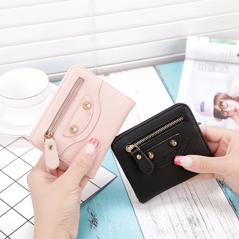 2018 New Women Short Cute Wallet And Purse PU Leather Fashion Zipper Coin Purse Girl Female Plastic Credit Card Case Holder women cute tassels zipper card holder wallet vintage bird embroidery short purse pu leather coin pocket lady casual money bag