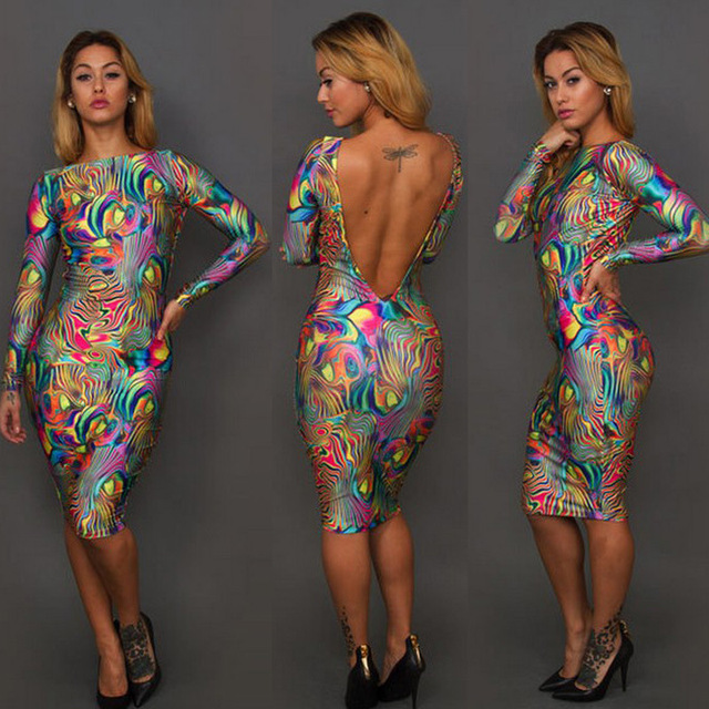 Free Shipping 2015 sexy dress Summer women Digital printing oil painting dress  Fashionable backless dress for women club wear 30018ca6d