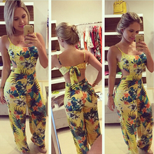 Hot Sale 2018 Women S Jumpsuits Yellow Printed Casual Spaghetti Strap Loose Long Length Flower Pattern