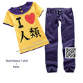 No Game No Life Sora Cosplay Costume Short Sleeve T-Shirt + Pants I Love Human Being dress men trousers casual Clothes
