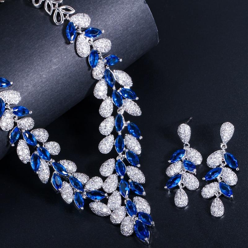 Image 5 - CWWZircons/Роскошные комплекты ювелирных изделий из белого золота  с королевским синим цирконием и камнями из фианита, свадебные  аксессуары для одежды T315Ювелирные наборы для невесты