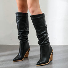 White Brown Black Faux Leather Cowboy Knee Boots for Women Wedge High Heel Boots Pointed Toe Slouchy Western Cowgirl Boots 2019