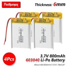 37V 800mAh 603040 Li-ion Lipo Battery Lithium Polymer Li-Po li ion Battery Lipo cells For Speaker Alarm GPS MP3 MP4 Toy DIY