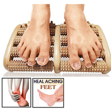 5 Raw Wooden Foot Roller Wood Care Massage Reflexology Relax Relief Massager Spa
