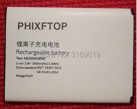 With Track,PHIXFTOP original AB3000IWMC battery For philips S326 cellphone Batterie for XENIUM CTS326 smart Mobile phone 3000mAh