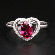 Robira Ruby Anniversary Finger Ring 18K Gold Heart Shape Diamond Wedding Rings for Women Luxury High Quality Ruby Fine Jewelry