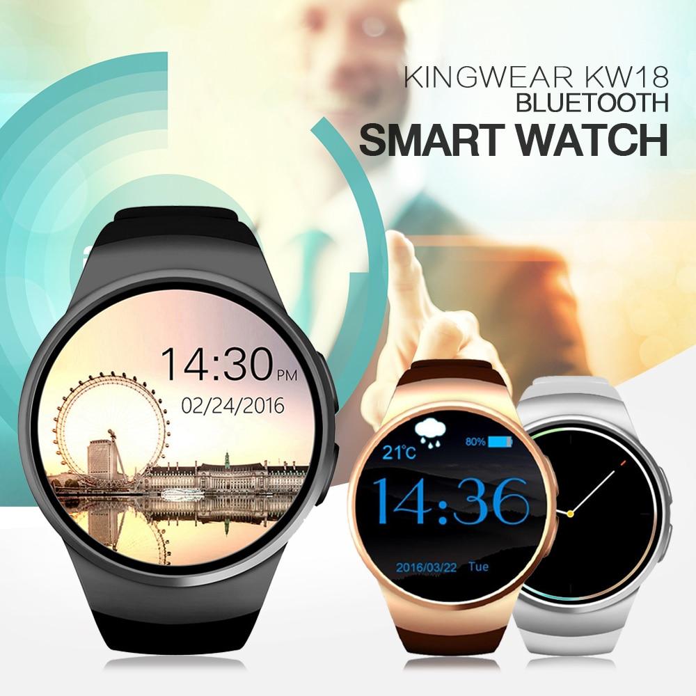 imágenes para Kingwear kw18 bluetooth smart watch teléfono sim y tarjeta de tf smartwatch reloj del ritmo cardíaco portátil app para ios android mp3