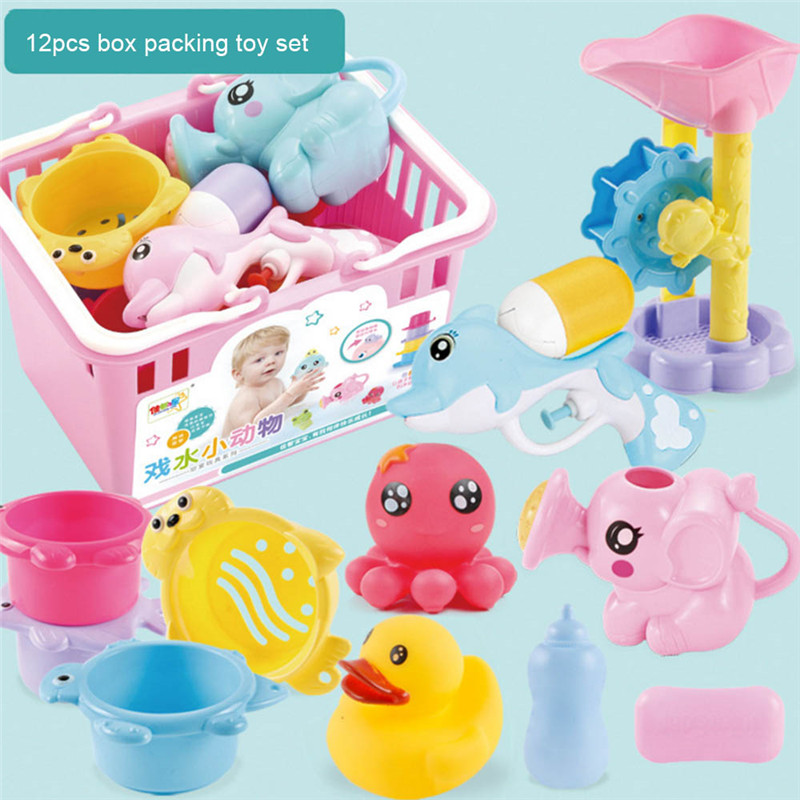 Baby Bath Shower Water Toys Floating toy Animals Swimming Water Toys Soft Floating Rubber Duck Squeeze Sound Squeaky Beach Toy