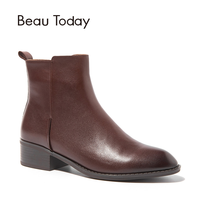 BeauToday Ankle Boots Women Top Quality Brand Boot Genuine Cow Leather Pointed Toe Lady Shoes Handmade 03230 стоимость