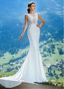 Image 4 - Romantique o décolleté transparent robe de mariée sirène avec Appliques de dentelle Illusion dos sirène robe de mariée vestidos de 15