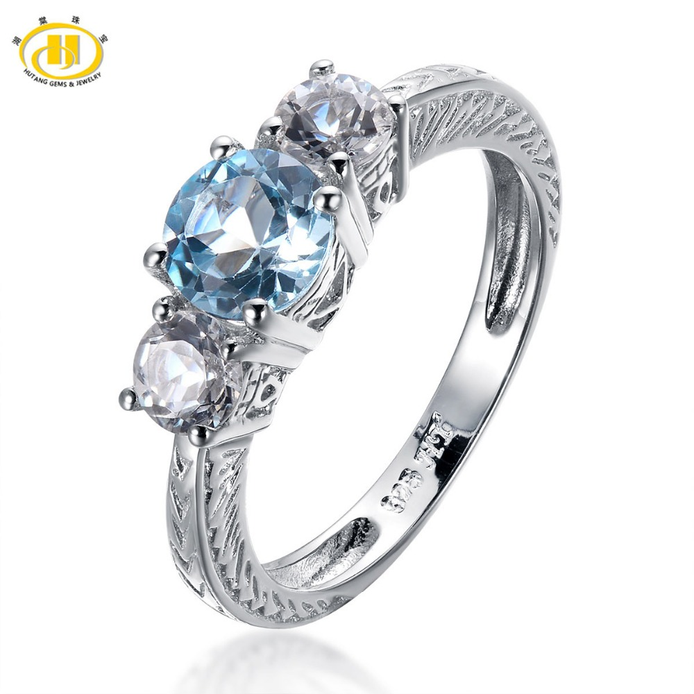 Hutang 1.58ct Natural Blue Topaz Solid 925 Sterling Silver Ring For Women Engagement 3-stone Gemstone Vintage Fine Jewelry Ring