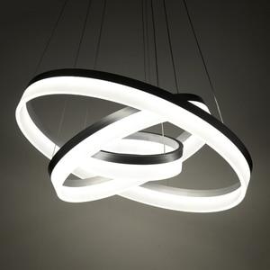 Image 2 - Lusso Moderno lampadario LED cerchio anello di luce lampadario per soggiorno Acrilico Lustre Lampadario di Illuminazione del nastro bianco di 85 265