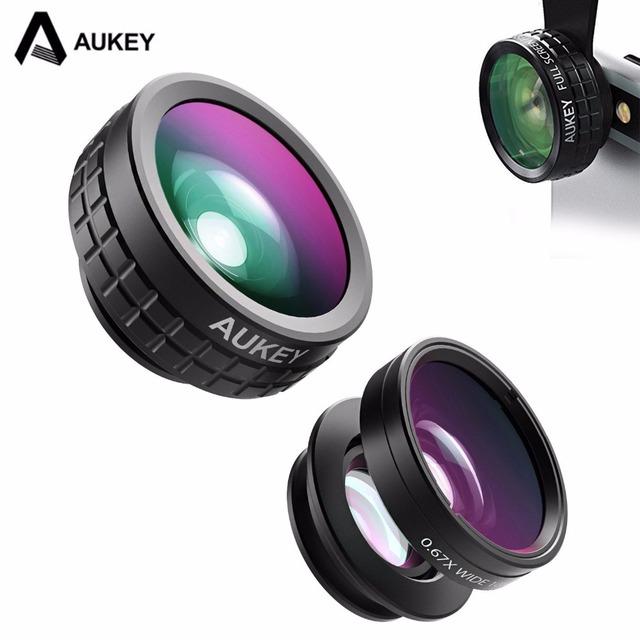 AUKEY Mini Clip-on Óptica Kit 180 Degree Fisheye Lente de La Cámara Del Teléfono Celular lente 110 grados de ángulo ancho + 10x lente macro para el iphone