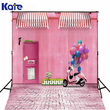 200CM*150CM backgrounds Motorcycle electric car pink balloon house fence lawn photography backdrops photo LK 1200