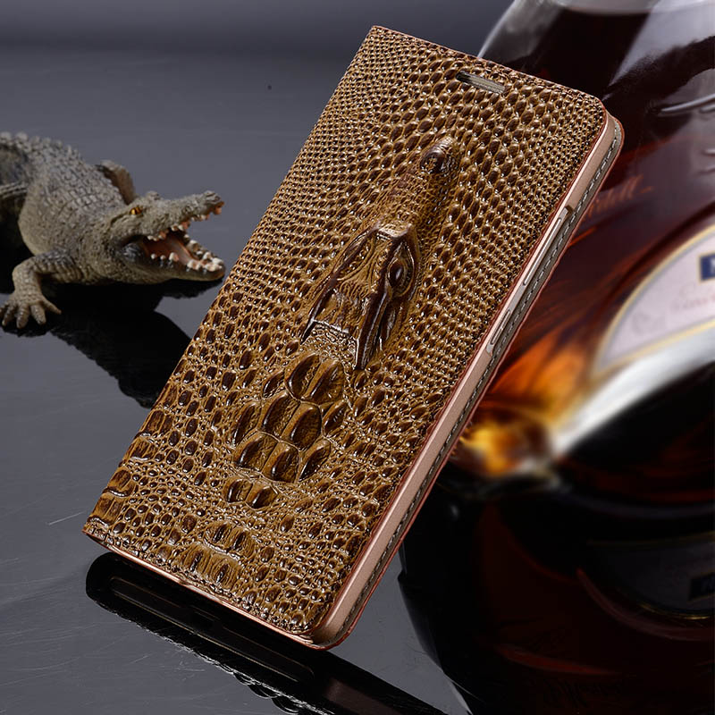 Cover For Huawei Honor 6X High Quality Top Genuine Leather Flip Luxury Card Holder Case 3D Crocodile Grain Phone Bag + Free Gift