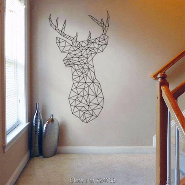 Aliexpresscom Buy New Design Geometric Deer Head Wall Sticker - Custom vinyl wall decals deer