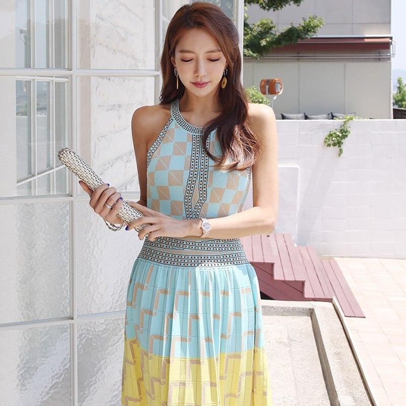 Женское летнее сексуальное платье трапециевидной формы с высокой талией, повседневное многоцветное вязаное платье в стиле бохо, стрейчево