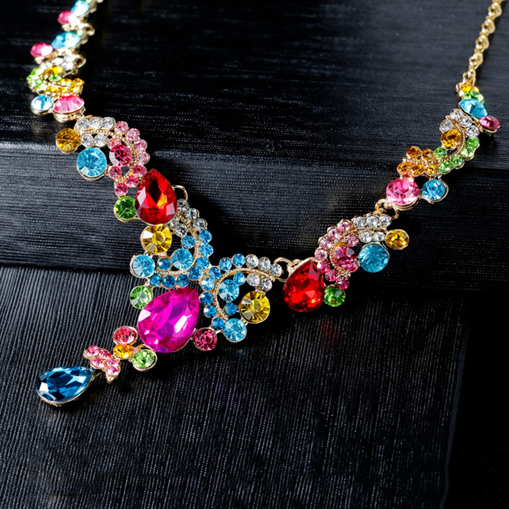 Jewelry Sets for Women Crystal Rhinestone Colorful Elegant luxury fashion Wedding Bridal Necklace Earrings Sets Dropship in Jewelry Sets from Jewelry Accessories