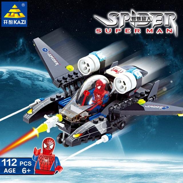 112 Pcs Super Heroes Spiderman Criador Lutador Figuras Blocos de construção Tijolos Brinquedos Educativos para Crianças