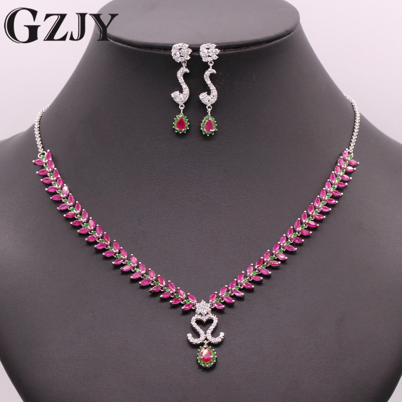 GZJY Noble Jewelry Sets Gold Color Green Red Stone&AAA Cubic Zircon Necklace Earring Set For Women Wedding Party Jewelry