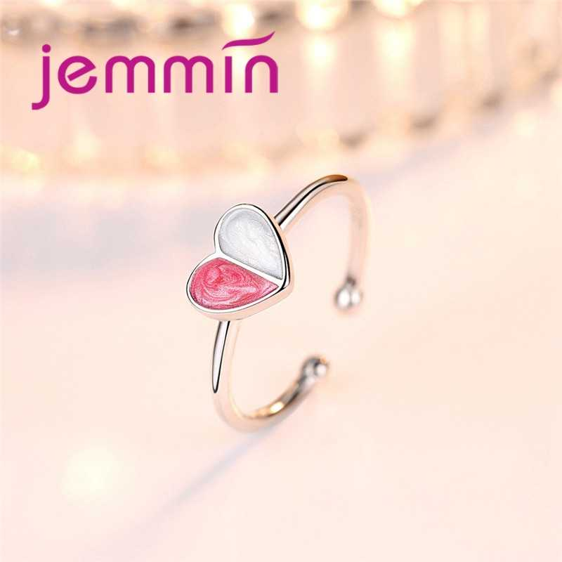 100% 925 เงินสเตอร์ลิงคู่สีคริสตัลรูปหัวใจโรแมนติกทางปัญญาหญิงปรับแหวนเปิดทุกวัน
