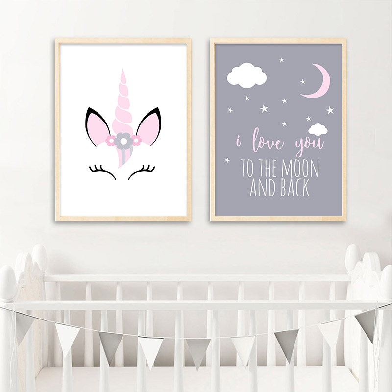 HTB1tcBqaeP2gK0jSZFoq6yuIVXa3 Unicorn Canvas Poster Baby Girl Nursery Quotes Wall Art Print Love You to the Moon Painting Nordic Kids Room Decoration Picture