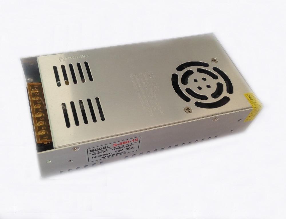 2pcs/lot 12V 30A 360W Switching Power Supply Driver for LED Strip AC 100 240V Input to DC 12V led transfmer free shipping