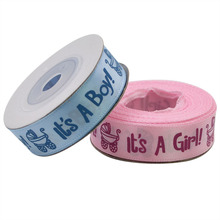 10 Yard/Roll It is a Boy/Girl Printed Ribbons Baby Shower Christening Streamers Satin Ribbon DIY Handmade Crafts Gift Packing