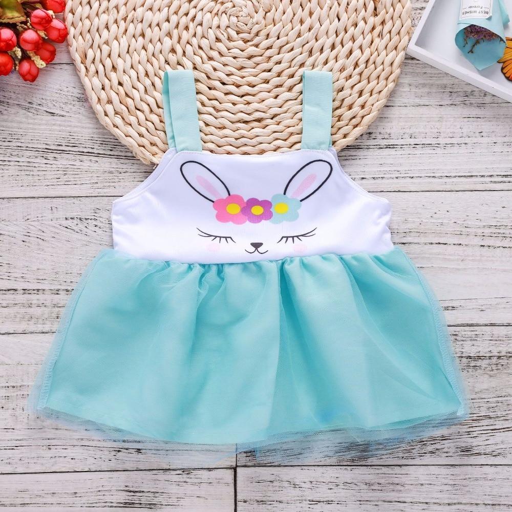 2018 Toddler Girl Dresses Gown Girls Mesh Flower Dress Cute Cartoon Rabbit Tutu Dresses Baby Girl Baby Summer Clothes Kids Cloth